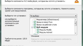 Выбираем компоненты для установки (по умолчанию вполне достаточно для использования программы)